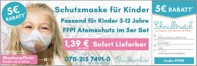 Schutzmaske für Kinder! FFP1 Atemschutz für Kinder 3-12 Jahre!