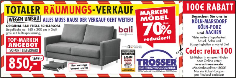 TOTALER RÄUMUNGSVERKAUF +++ 100€ Gutschein bei Trösser
